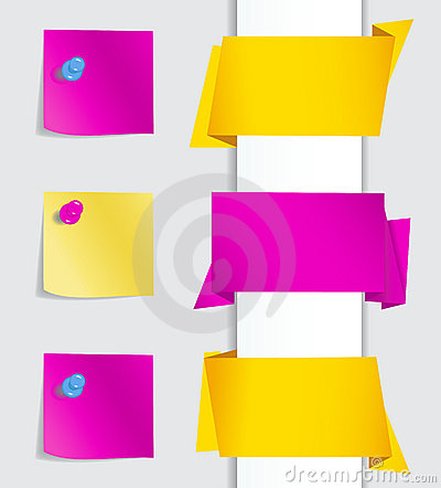 Free Origami Banners With Pushpins Royalty Free Stock Photo - 21346785