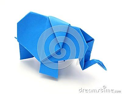 Origami blue elephant