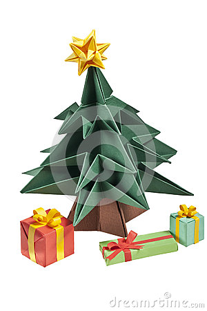 An origami Christmas tree