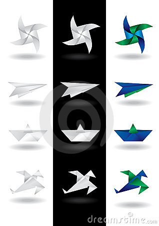 Origami design elements - Vector