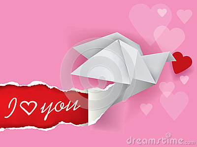 Origami dove message of love