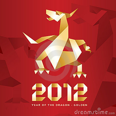 Origami Dragon, 2012 Year - Red&Gold