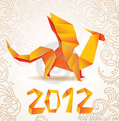 Origami dragon card 2012
