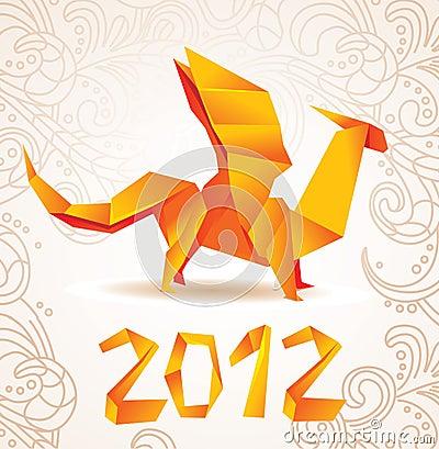 Origami dragon card 2012