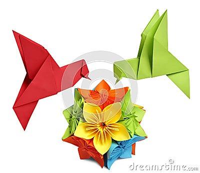 Origami humming-bird