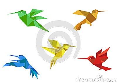 Origami hummingbirds set