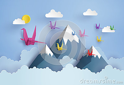 Origami made colorful paper bird flying on blue sky Vector Illustration