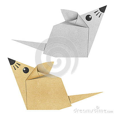 Origami mouse recycled papercraft