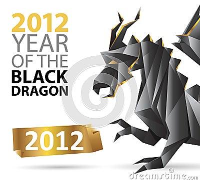 Origami negro del dragón