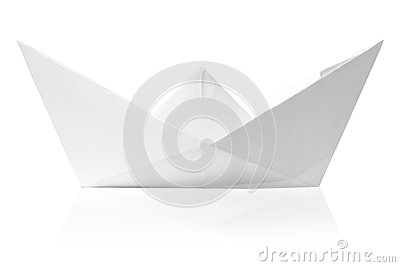Origami paper ship isolated