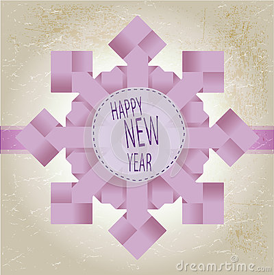 Origami snowflake with happy new year text