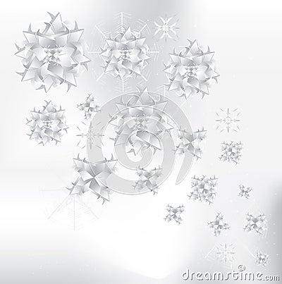 Origami snowflakes background