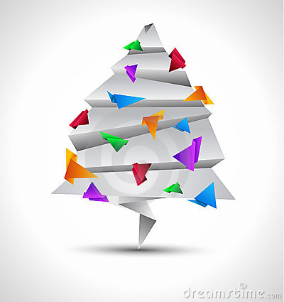 Origami style paper Christmas tree