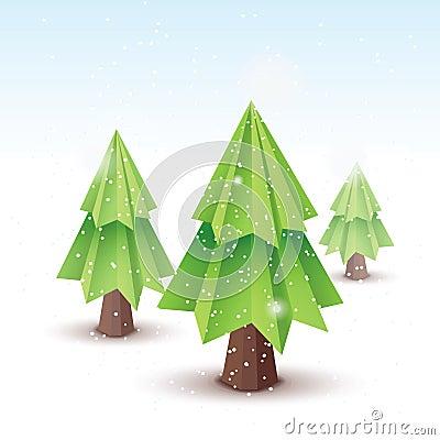 Origami vector christmas tree