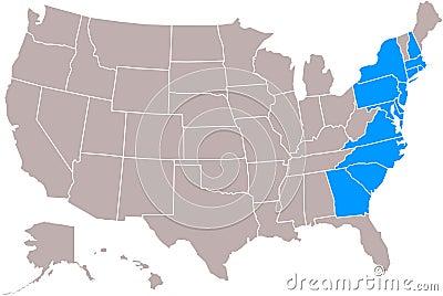Original 13 states map