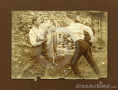 Original 1920 antique photo-men fighting