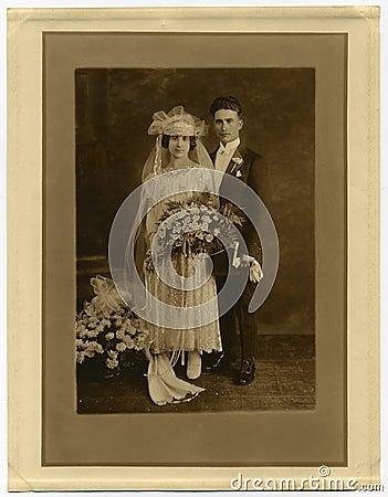 Original 1925 antique photo- Marriage