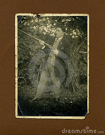 Original 1930 antique photo-hunter