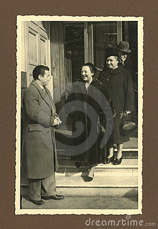 Original 1945 antique photo - meeting