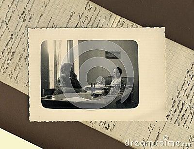 Original 1950 antique photo - clercks