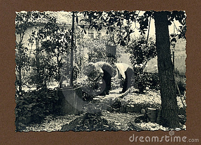 Original 1950 antique photo-gardeners