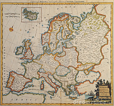 Original antique europe map.