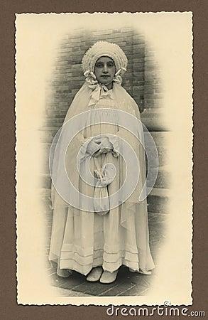 Original antique photo - first communion