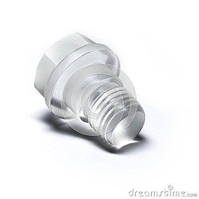 Original bolt made of transparent plastic