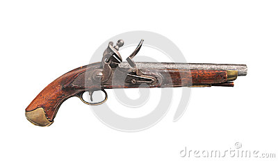 Original British flintlock pistol isolated