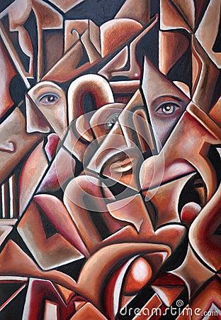 Original Cubism Artwork Hidden Faces