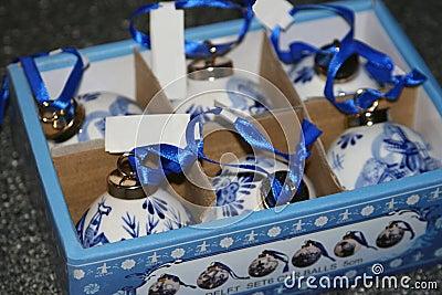 Original Delft Blue hand made baubles, Holland