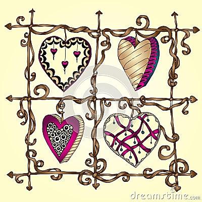 original-drawing-doodle-hearts-template-frame-design-love-card-set-lace-heart-37238372