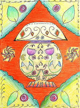 Original drawing of a symmetrical lamp shade