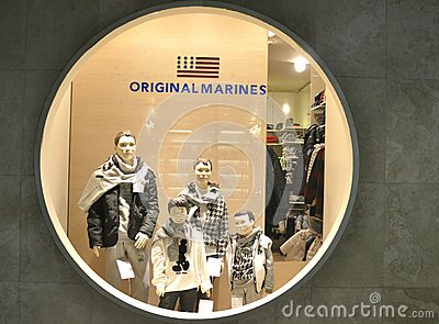 Original Marines winter luxury fashion shop in Italy Editorial Stock Image