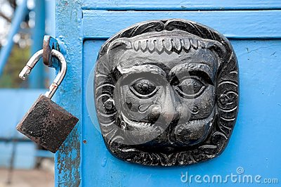 Original metal  door decoration and lock