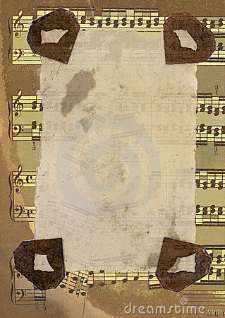 Original mixed background with sheet music