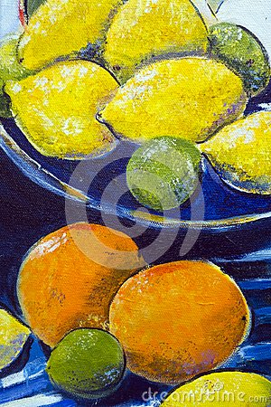 Free Original Oil Painting Close Up Detail - Lemons And Limes Stock Photography - 116332602
