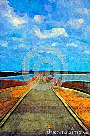 Free Original Oil Painting Of Pier Stock Image - 14252671