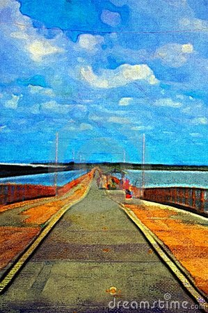 Original oil painting of pier