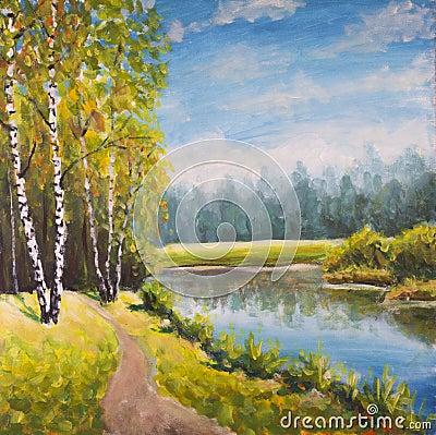 Free Original Oil Painting  Summer Landscape, Sunny Nature On Canvas. Beautiful Far Forest, Rural Landscape Landscape. Modern Impressio Stock Image - 91642911