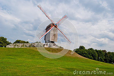 Original old windmill in Bruges
