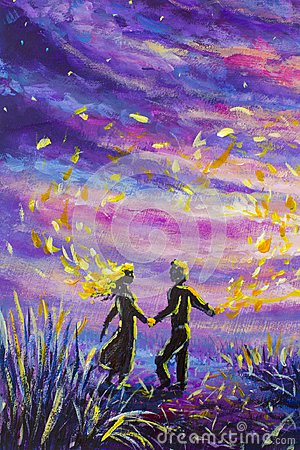 Free Original Painting Abstract Man And Woman Are Dancing On Sunset. Night, Nature, Landscape, Purple Starry Sky, Romance, Love, Feelin Royalty Free Stock Images - 108316109