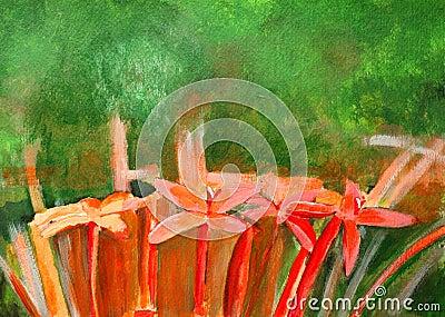 Original painting of red Ixora