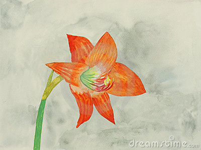 Original painting of a red lily, a child art