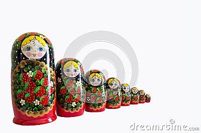 Original russian matrioska isolated
