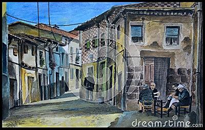 Original spanish village gouache