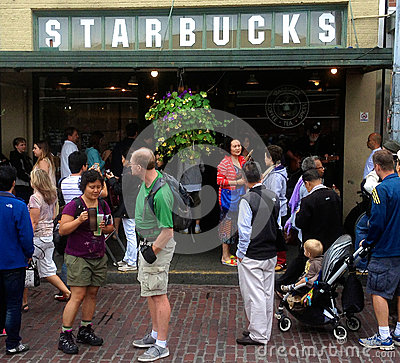 The original Starbucks in Seattle Editorial Photo
