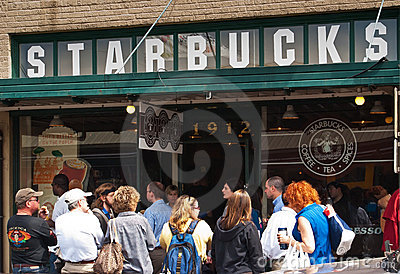 The original Starbucks store in Seattle Editorial Photo