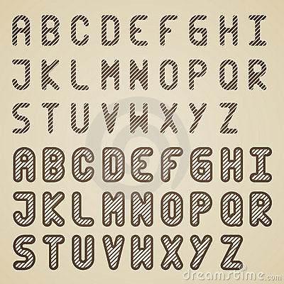 Original striped font alphabet