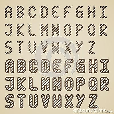 Original striped font alphabet